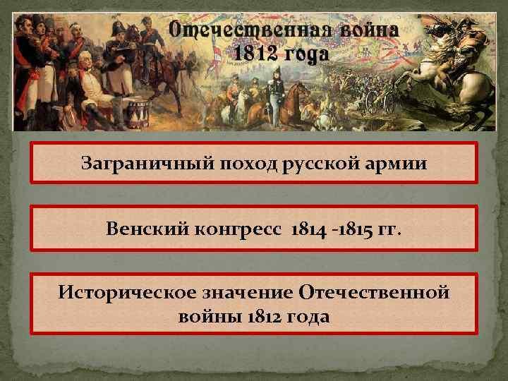 Заграничный поход русской армии Венский конгресс 1814 -1815 гг. Историческое значение Отечественной войны 1812