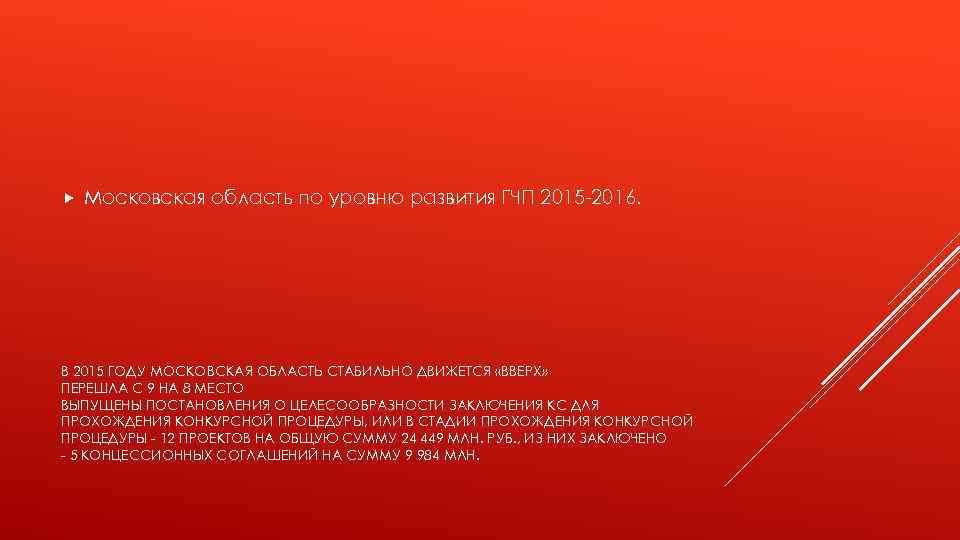 Московская область по уровню развития ГЧП 2015 -2016. В 2015 ГОДУ МОСКОВСКАЯ ОБЛАСТЬ