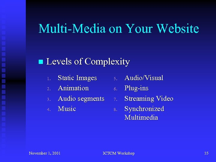 Multi-Media on Your Website n Levels of Complexity 1. 2. 3. 4. Static Images