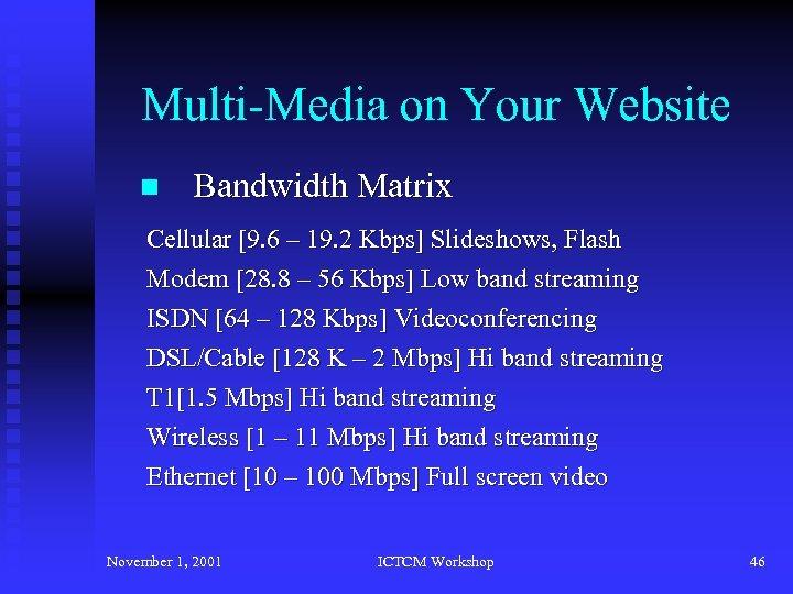 Multi-Media on Your Website n Bandwidth Matrix Cellular [9. 6 – 19. 2 Kbps]