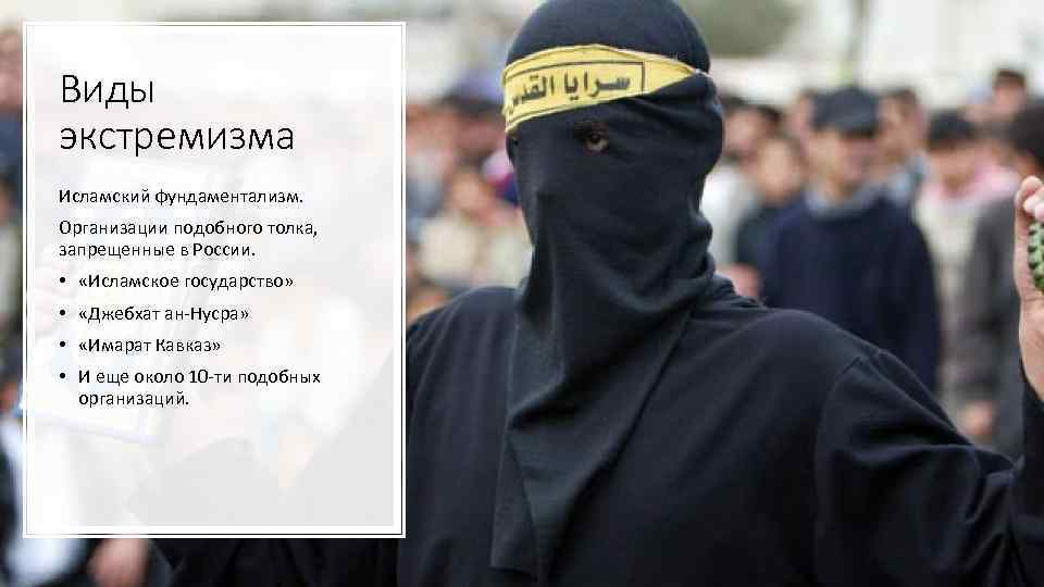 Виды экстремизма Исламский фундаментализм. Организации подобного толка, запрещенные в России. • «Исламское государство» •