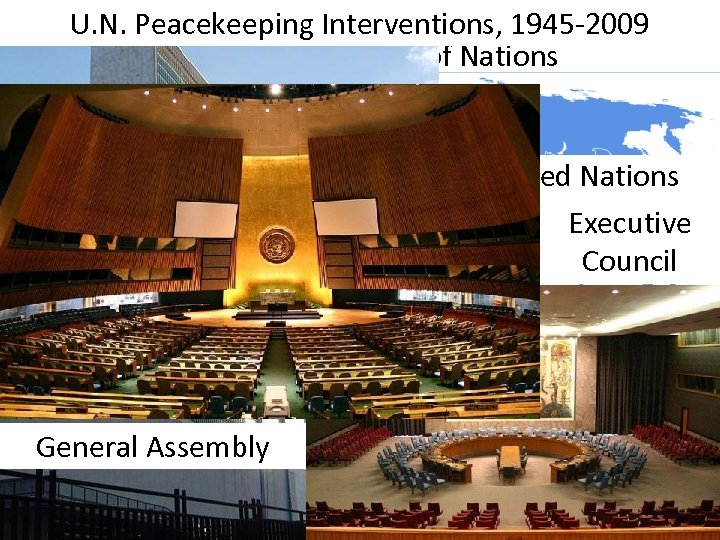 U. N. Peacekeeping Interventions, 1945 -2009 The United Nations was created which replaced the