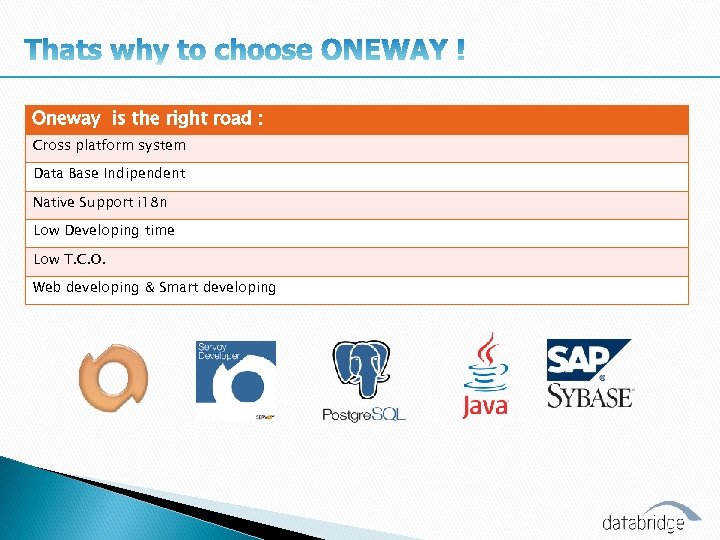 Oneway is the right road : Cross platform system Data Base Indipendent Native Support
