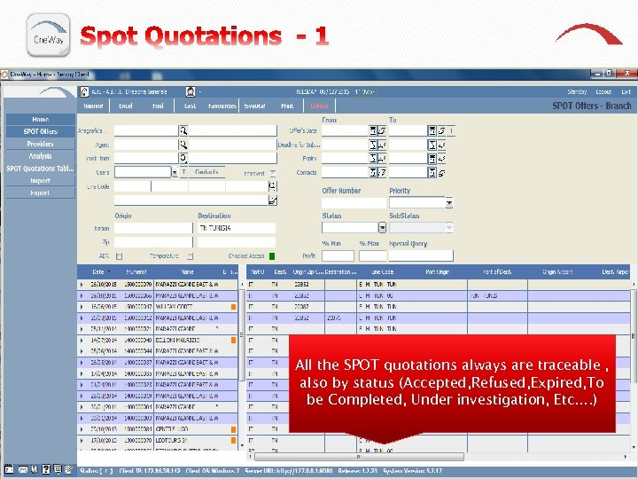 All the SPOT quotations always are traceable , also by status (Accepted, Refused, Expired,