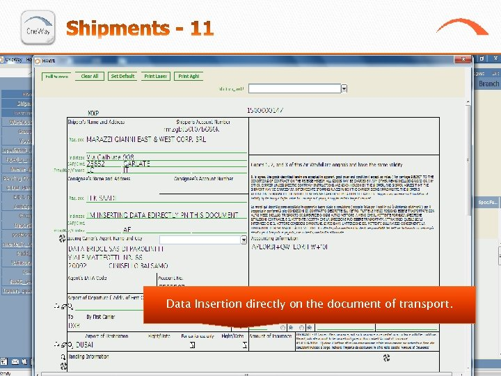 Data Insertion directly on the document of transport.