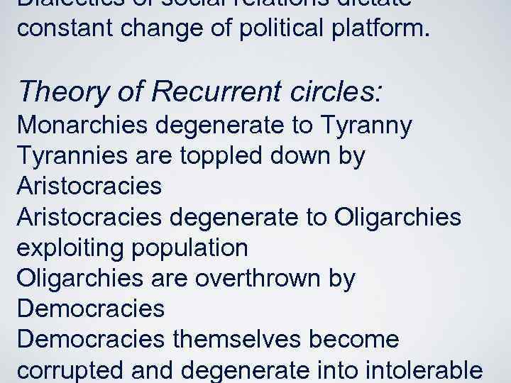 Dialectics of social relations dictate constant change of political platform. Theory of Recurrent circles: