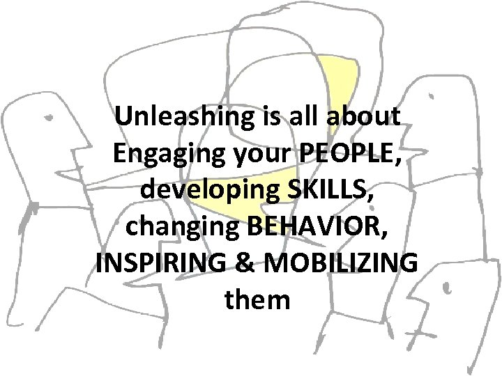 Unleashing is all about Engaging your PEOPLE, developing SKILLS, changing BEHAVIOR, INSPIRING & MOBILIZING