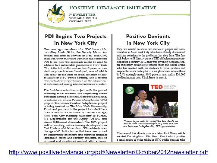 http: //www. positivedeviance. org/pdf/Newsletter/October 2012 newsletter. pdf