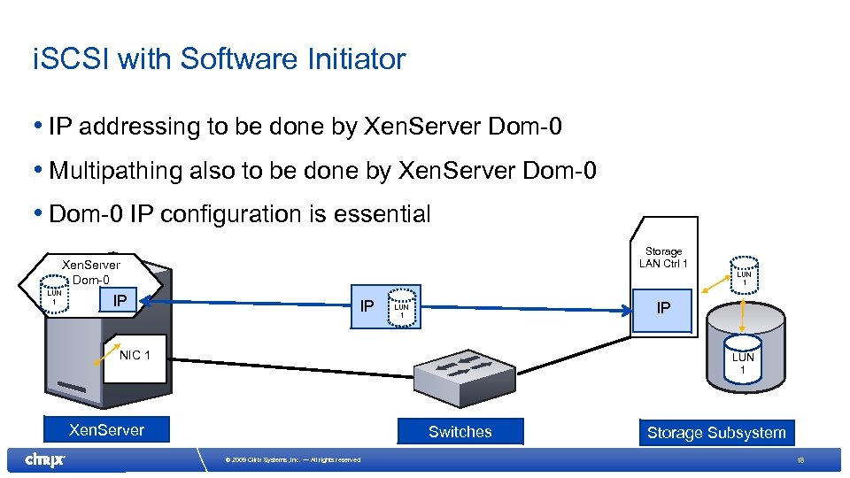 i. SCSI with Software Initiator • IP addressing to be done by Xen. Server