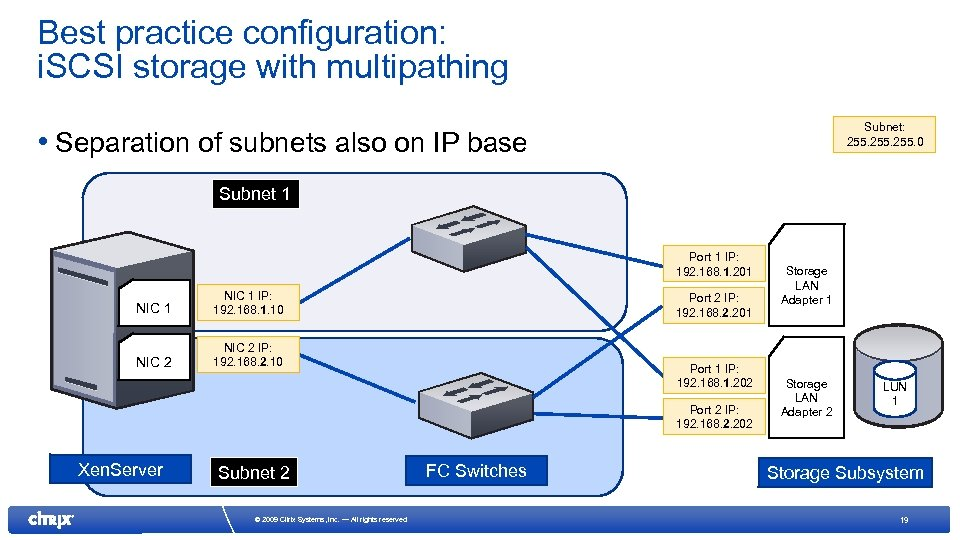 Best practice configuration: i. SCSI storage with multipathing Subnet: 255. 0 • Separation of
