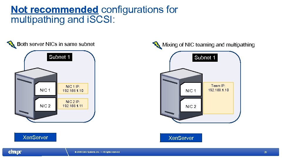Not recommended configurations for multipathing and i. SCSI: Both server NICs in same subnet