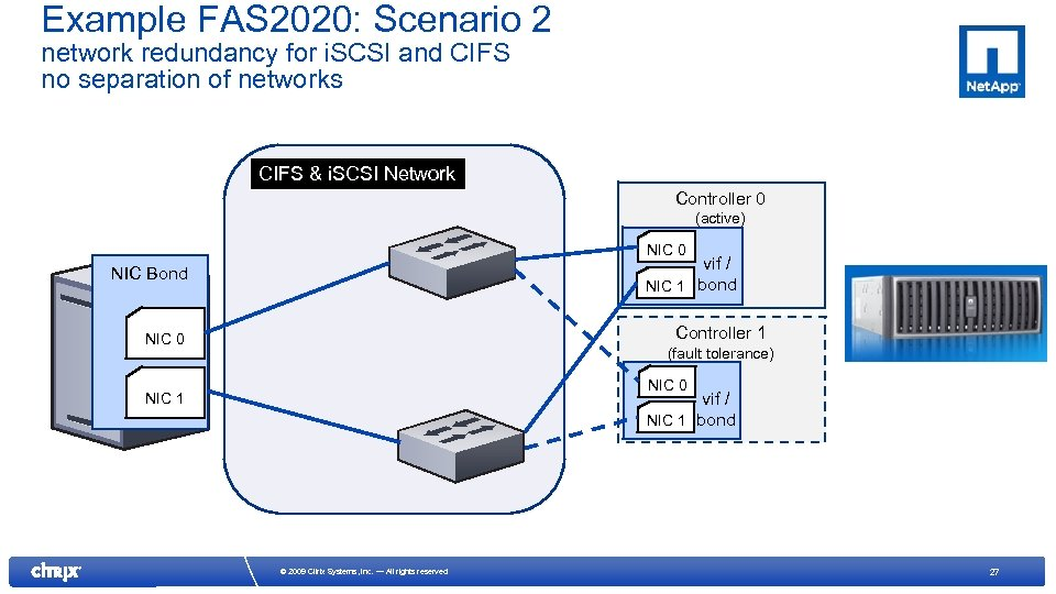 Example FAS 2020: Scenario 2 network redundancy for i. SCSI and CIFS no separation