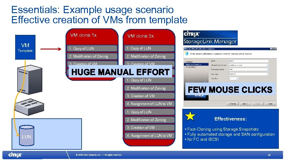 Essentials: Example usage scenario Effective creation of VMs from template VM clone 1 x