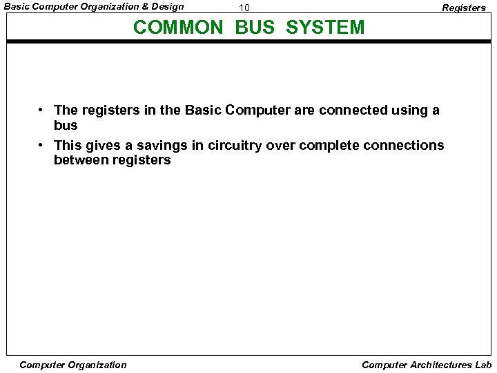 Basic Computer Organization & Design 10 Registers COMMON BUS SYSTEM • The registers in