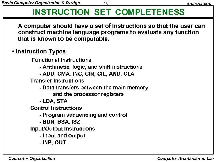 Basic Computer Organization & Design 16 Instructions INSTRUCTION SET COMPLETENESS A computer should have