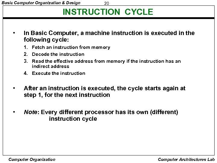 Basic Computer Organization & Design 20 INSTRUCTION CYCLE • In Basic Computer, a machine