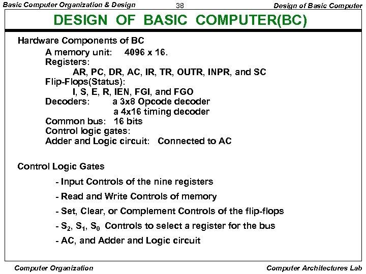 Basic Computer Organization & Design 38 Design of Basic Computer DESIGN OF BASIC COMPUTER(BC)