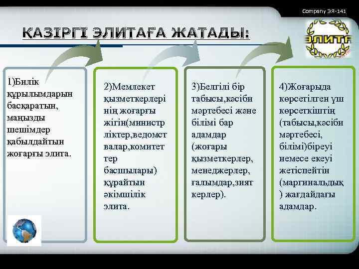 Company ЭЯ-141 ҚАЗІРГІ ЭЛИТАҒА ЖАТАДЫ: 1)Билік құрылымдарын басқаратын, маңызды шешімдер қабылдайтын жоғарғы элита. 2)Мемлекет