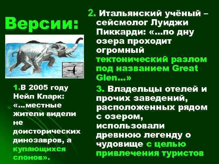 Версии: 1. В 2005 году Нейл Кларк: «…местные жители видели не доисторических динозавров, а