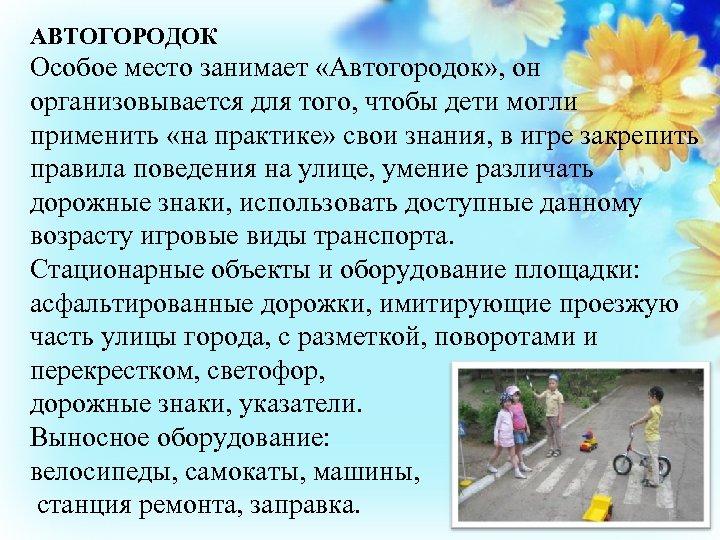 АВТОГОРОДОК Особое место занимает «Автогородок» , он организовывается для того, чтобы дети могли применить