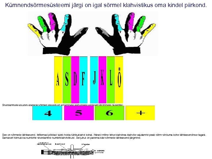Kümnendsõrmesüsteemi järgi on igal sõrmel klahvistikus oma kindel piirkond. Sisestamisele asudes asetage sõrmed klaviatuuri