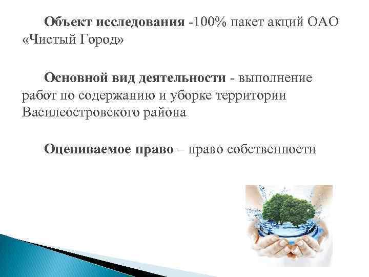 Объект исследования -100% пакет акций ОАО «Чистый Город» Основной вид деятельности - выполнение работ