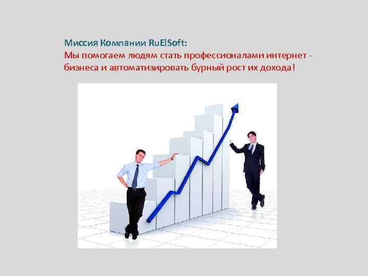 Миссия Компании Ru. El. Soft: Мы помогаем людям стать профессионалами интернет бизнеса и автоматизировать