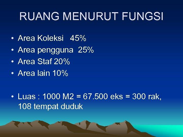 RUANG MENURUT FUNGSI • • Area Koleksi 45% Area pengguna 25% Area Staf 20%