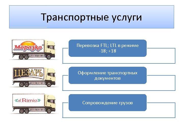 Транспортные услуги Перевозка FTL; LTL в режиме -18; +18 Оформление транспортных документов Сопровождение грузов