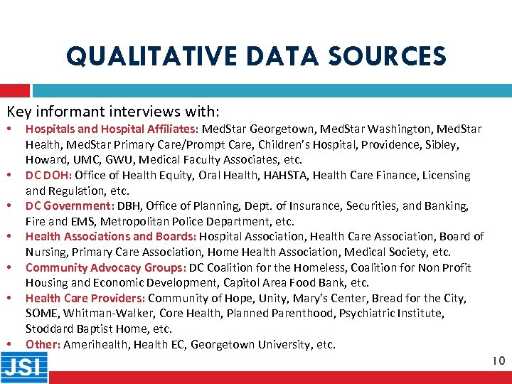 QUALITATIVE DATA SOURCES Key informant interviews with: • 10 • • • Hospitals and