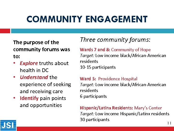 COMMUNITY ENGAGEMENT 11 The purpose of the community forums was to: • Explore truths