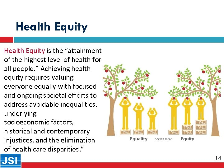 "Health Equity is the ""attainment of the highest level of health for all people."