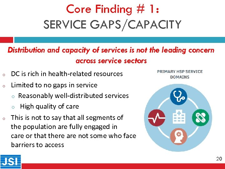 Core Finding # 1: SERVICE GAPS/CAPACITY Distribution and capacity of services is not the