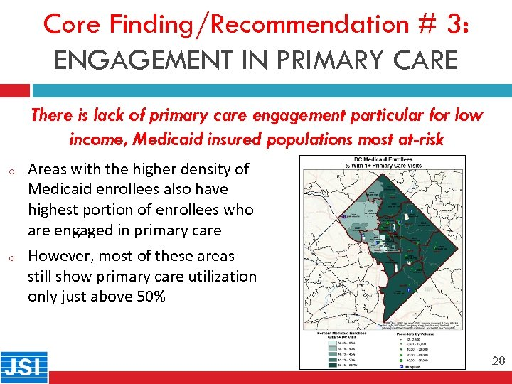 Core Finding/Recommendation # 3: ENGAGEMENT IN PRIMARY CARE 28 o o There is lack