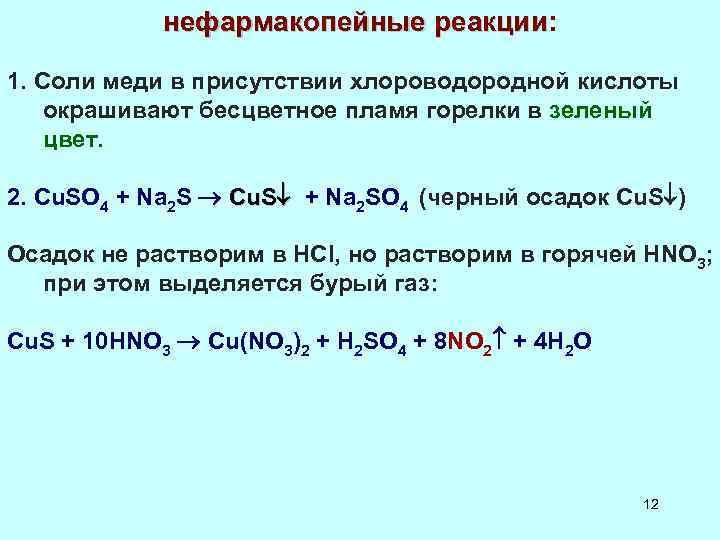 нефармакопейные реакции: 1. Соли меди в присутствии хлороводородной кислоты окрашивают бесцветное пламя горелки в