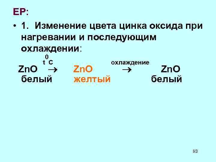 ЕР: • 1. Изменение цвета цинка оксида при нагревании и последующим охлаждении: 0 t