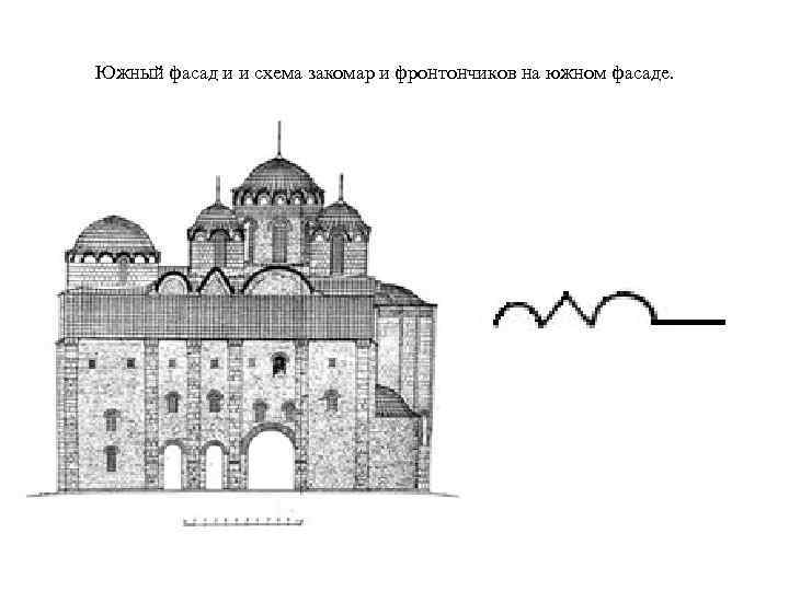 Южный фасад и и схема закомар и фронтончиков на южном фасаде.