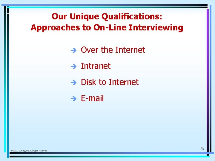 Our Unique Qualifications: Approaches to On-Line Interviewing è è Intranet è Disk to Internet