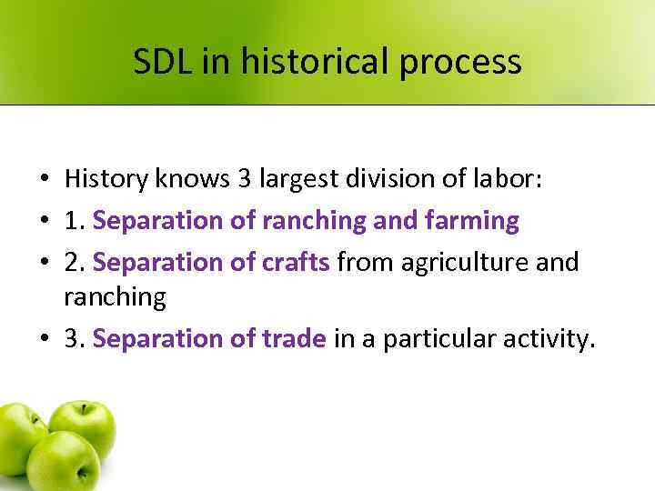 SDL in historical process • History knows 3 largest division of labor: • 1.