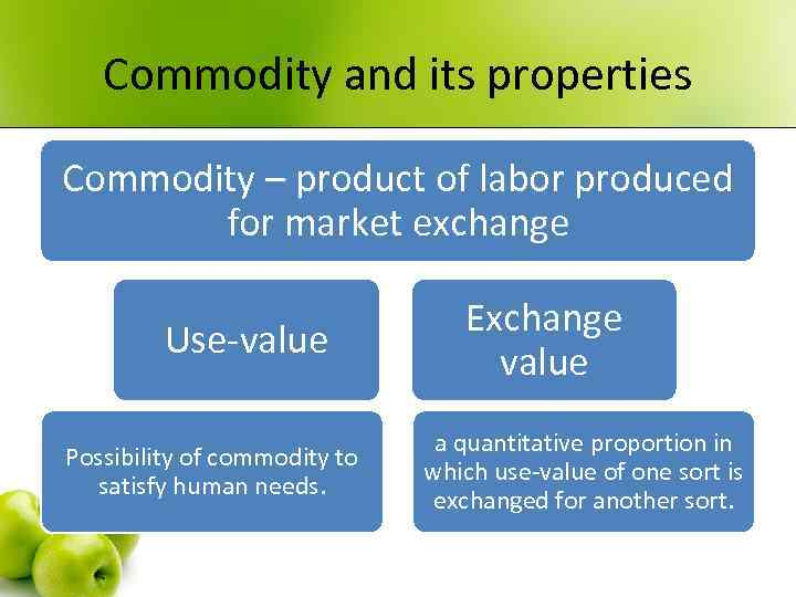 Commodity and its properties Commodity – product of labor produced for market exchange Use-value