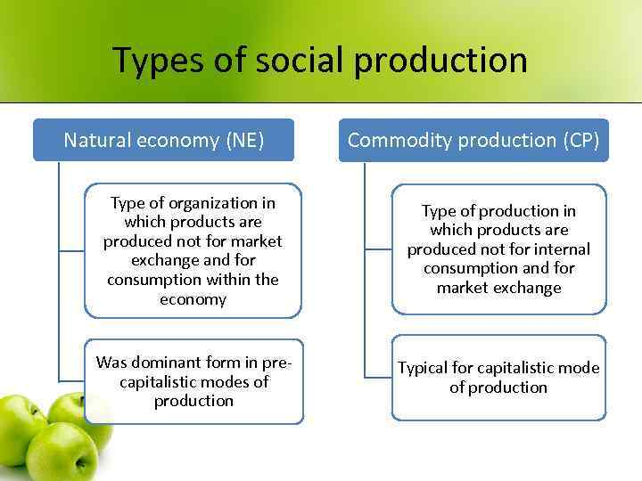 Types of social production Natural economy (NE) Commodity production (CP) Type of organization in