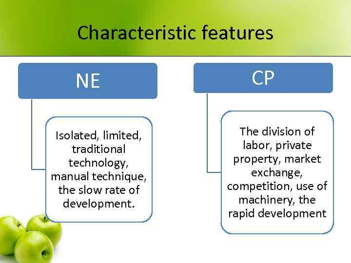 Characteristic features NE Isolated, limited, traditional technology, manual technique, the slow rate of development.