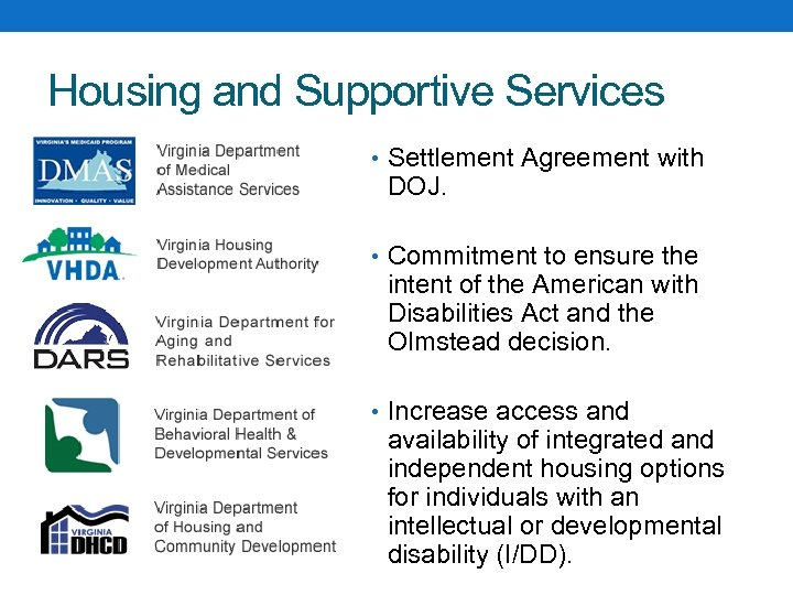Housing and Supportive Services • Settlement Agreement with DOJ. • Commitment to ensure the