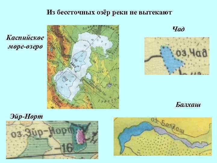 Из бессточных озёр реки не вытекают Чад Каспийское море-озеро Балхаш Эйр-Норт