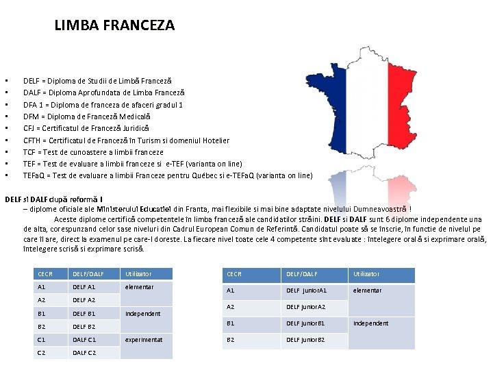 LIMBA FRANCEZA • • • DELF = Diploma de Studii de Limbă Franceză DALF