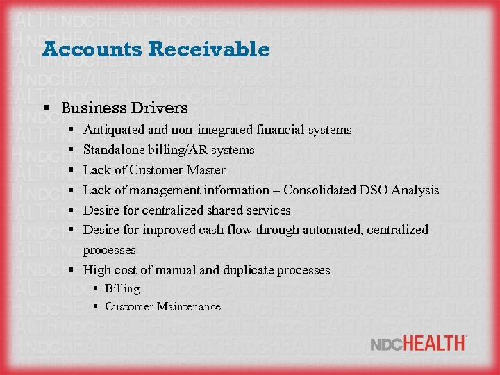 Accounts Receivable § Business Drivers § § § Antiquated and non-integrated financial systems Standalone