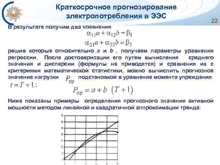 Краткосрочное прогнозирование электропотребления в ЭЭС 22 В результате получим два уравнения решив которые относительно