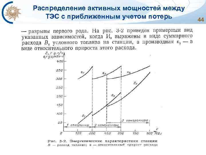 Распределение активных мощностей между ТЭС с приближенным учетом потерь 44