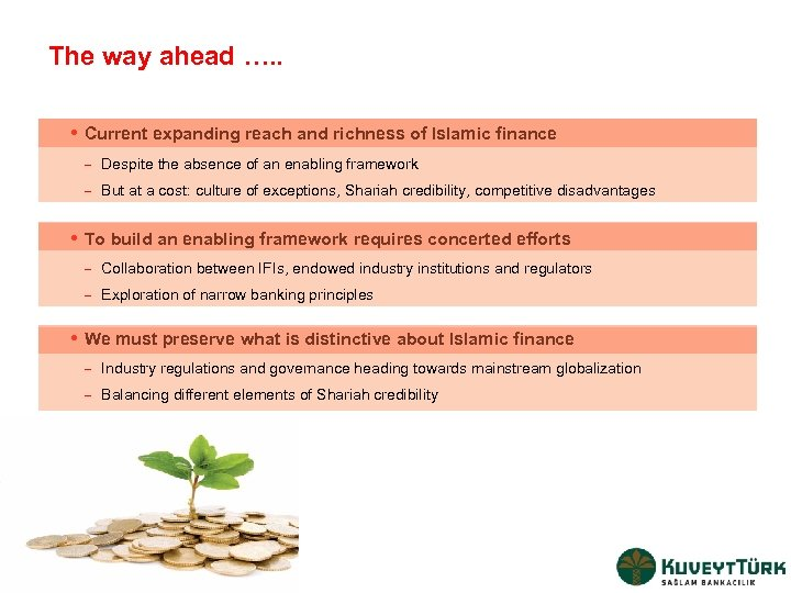 The way ahead …. . i Current expanding reach and richness of Islamic finance