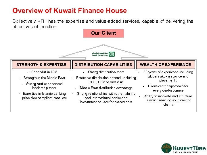 Overview of Kuwait Finance House Collectively KFH has the expertise and value-added services, capable